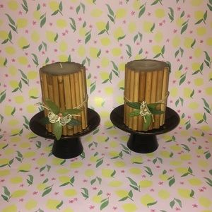 Set of two bamboo candles with candle pedestals